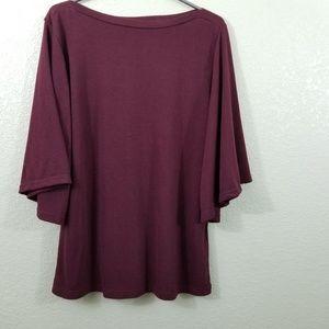 NWOT Amaryllis Burgundy Bell Sleeve Top